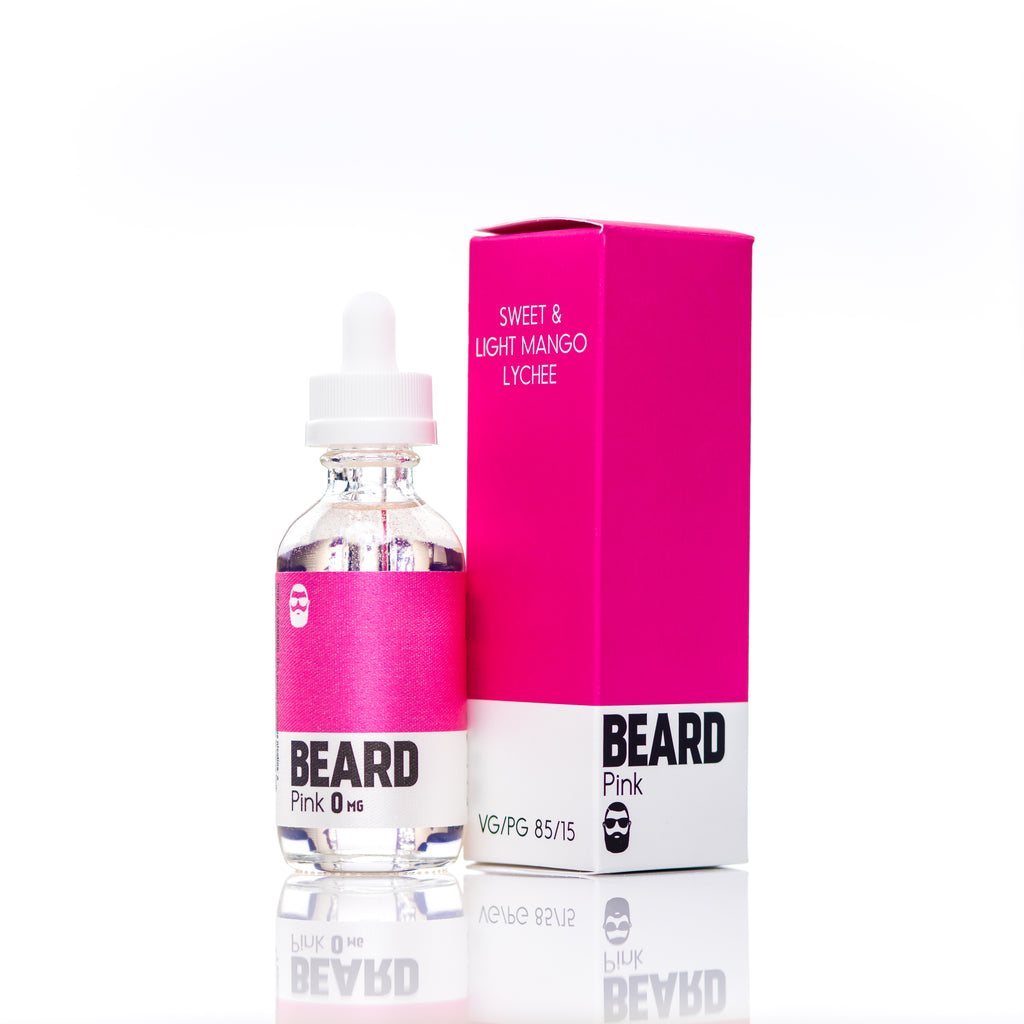 "Beard Vape Co Color ""PINK"" full view bottle and box"