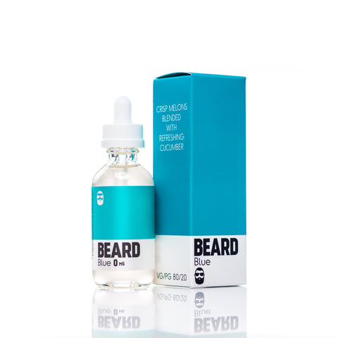 "Beard Vape Co Color ""BLUE"" full vial shot, bottle with box"
