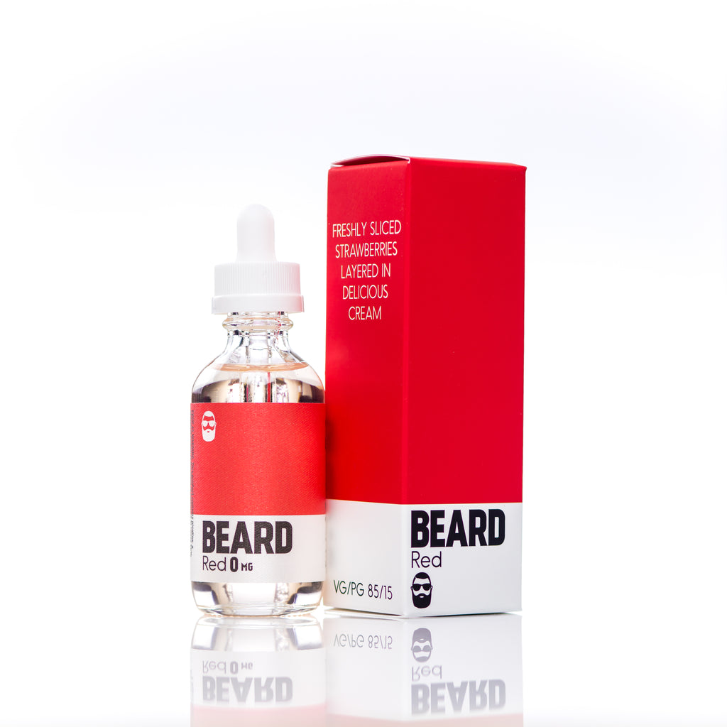 "Beard Vape Co Color ""RED"" box and bottle"