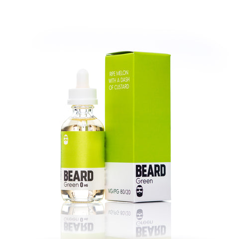 "Beard Vape Co Color ""GREEN"" full view, bottle with box"