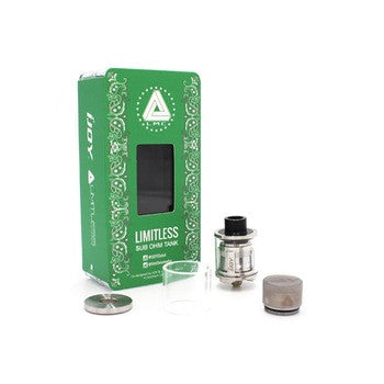 Limitless sub ohm Tank in lime green, individual parts next to lime green box