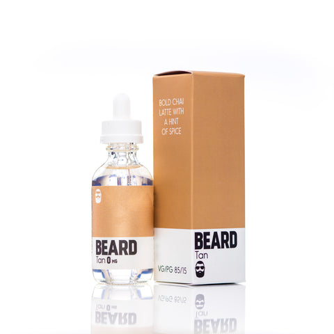 "Beard Vape Co Color ""Tan"" bottle shown with box"
