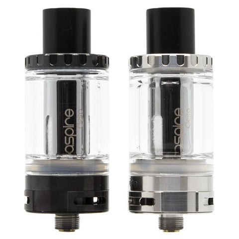 aspire cleito tank, black, clear, close up view