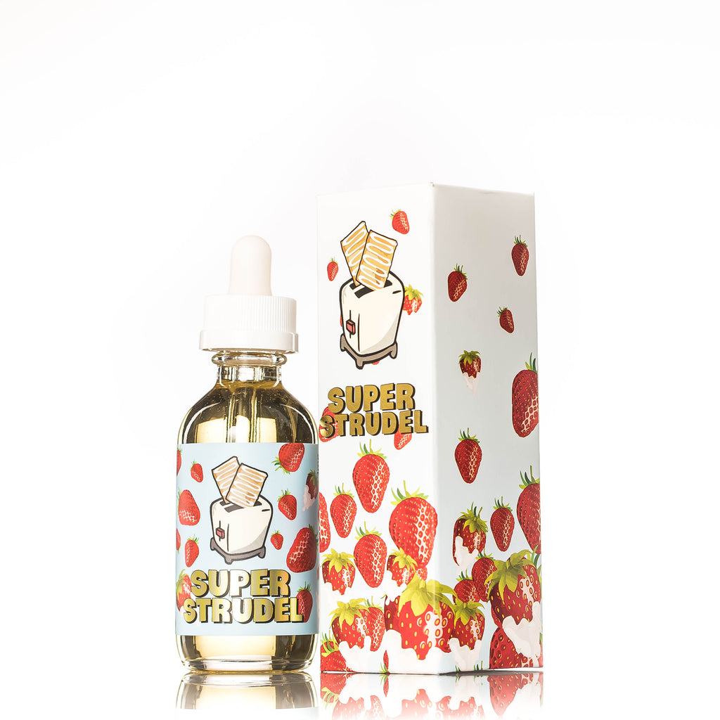 Super Strudel Strawberry E-liquid bottle and box with strawberries on it