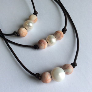 Freshwater pearl and matte pink gemstone necklace