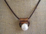 Art Deco Pearl & Copper Necklace