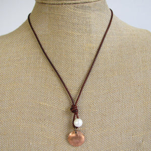 Pearl & Copper Penny Necklace