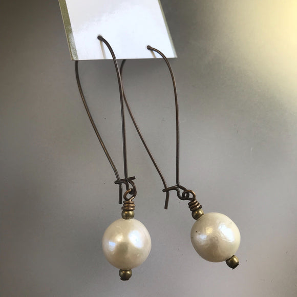 Single pearl earrings