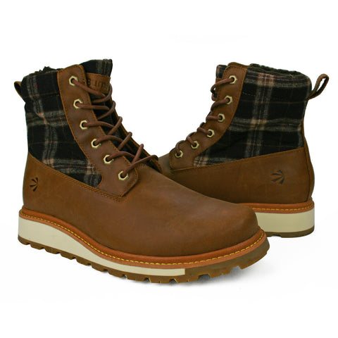 Men's Solid Plaid High Top Vintage