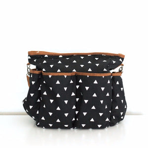 Black & White Triangle Canvas Diaper Bag - Baby Bear Outfitters