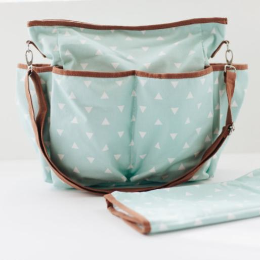 Mint Triangle Canvas Diaper Bag