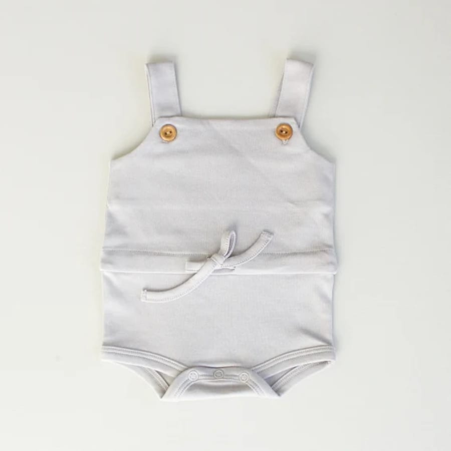 Button Overall Playsuit - Gray - Baby Bear Outfitters