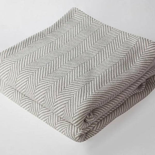 Herringbone Baby Blanket (Gray/Natural) - Baby Bear Outfitters