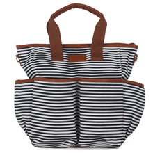 Black Striped Canvas Diaper Bag