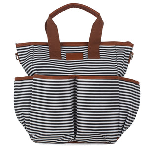 Black Striped Canvas Diaper Bag - Baby Bear Outfitters
