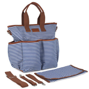 Blue Striped Canvas Diaper Bag - Baby Bear Outfitters