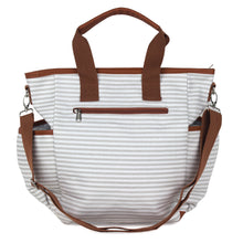 Gray Striped Canvas Diaper Bag