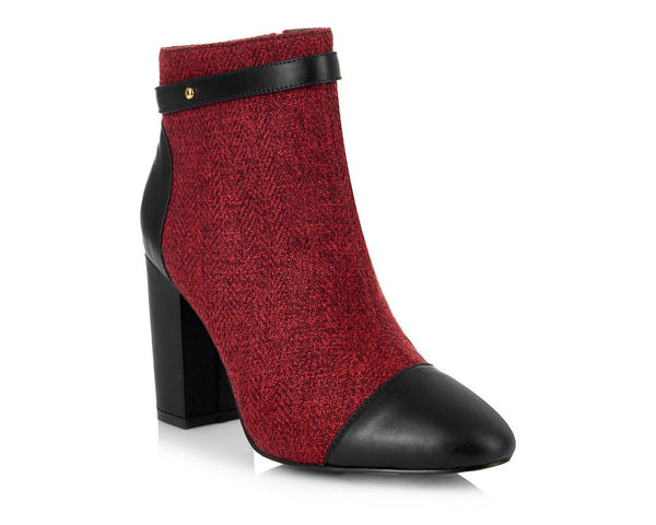 CHESTER RED BLOCK HEEL BOOT (SIZE 4)
