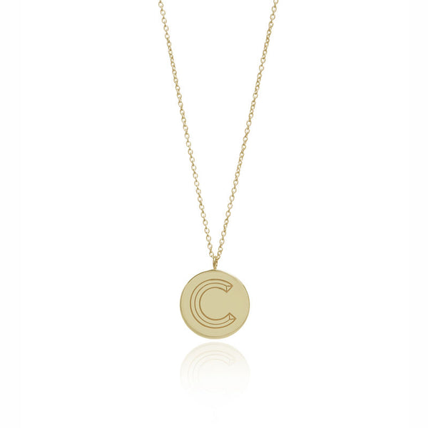 FACETT INITIAL NECKLACE - GOLD / C