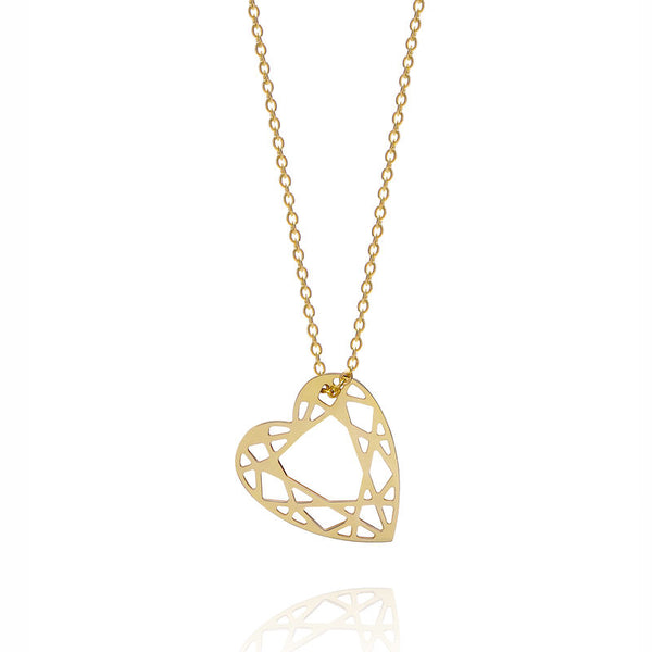 SMALL HEART DIAMOND NECKLACE - GOLD