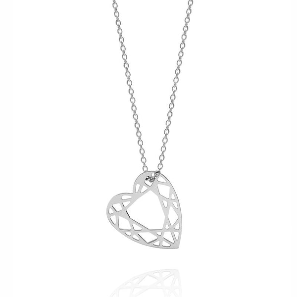 SMALL HEART DIAMOND NECKLACE - SILVER