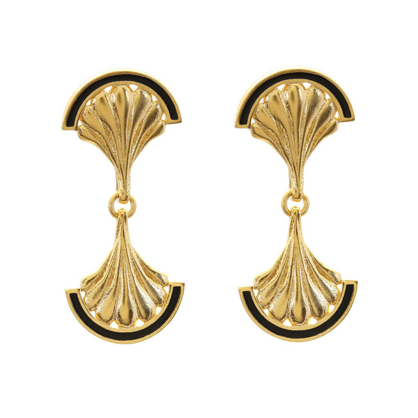 FACADE MIRROR 18CT YELLOW GOLD DROP EARRINGS