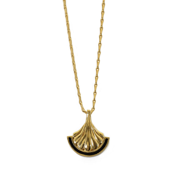 BLACK ENAMEL PILLAR 18CT YELLOW GOLD PENDANT NECKLACE