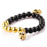 Black Onyx | Double 18kt Gold Plated Skull with Swarovski