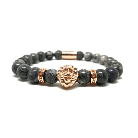 18kt Rose Gold Lion | Gray Jasper
