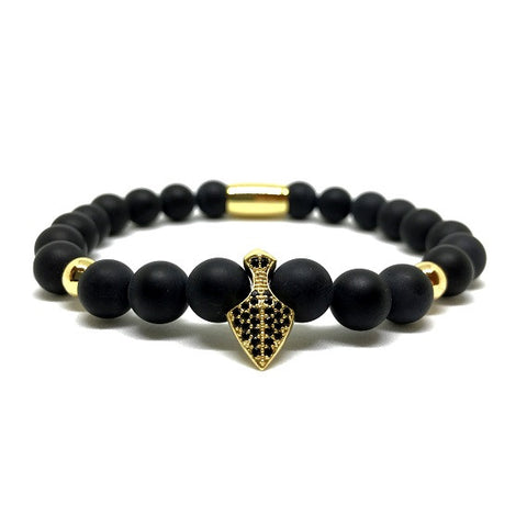 18kt Gold Plated Pike with CZ Diamonds | Matte Agate