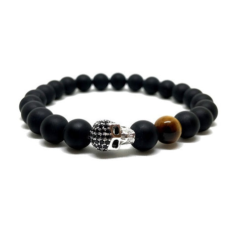 18kt White Gold Plated CZ Skull | Matte Black Agate
