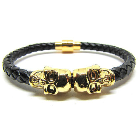 Black Nappa Leather | 18kt Gold Plated Twin Skull