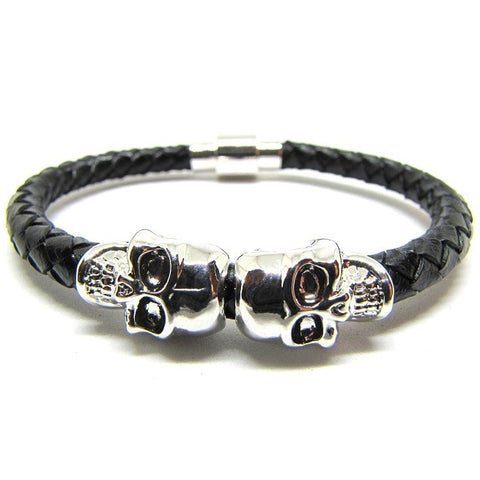 Black Nappa Leather | 18kt White Gold Plated Twin Skull