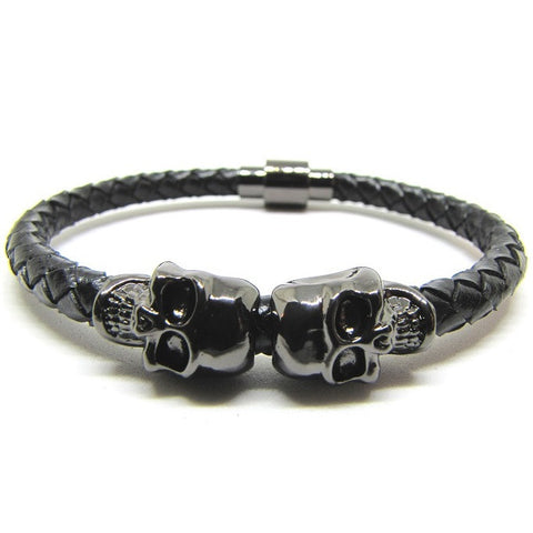 Black Nappa Leather | Gunmetal Black Plated Twin Skull