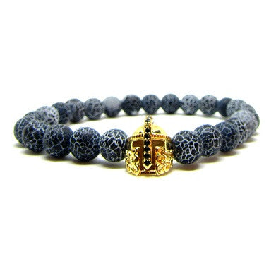 18K Gold Gladiator with Black CZ | Black Weathered Agate
