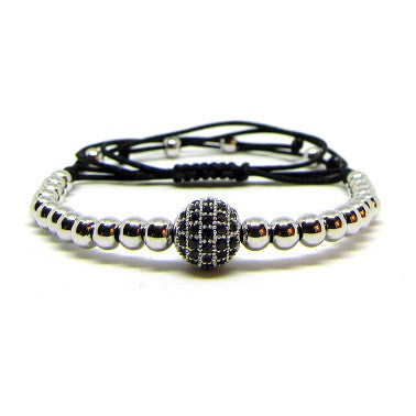 18kt White Gold Plated Beads | CZ Ball