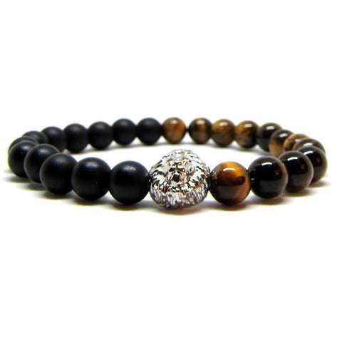 Matte Black Onyx | Tiger Eye | Silver Plated Lion Head