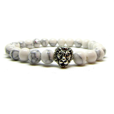 White Howlite | Silver Plated Lion Head