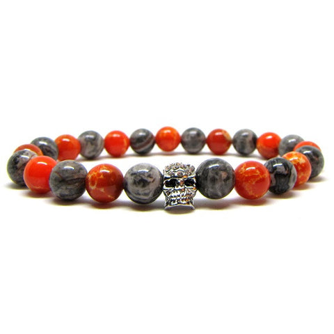 Red & Gray Jasper | Silver Plated Skull with Swarovski