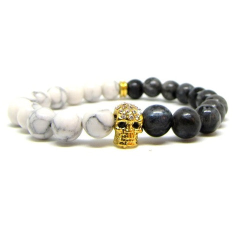 Grey Jasper | White Howlite | 18kt Gold Plated Skull with Swarovski