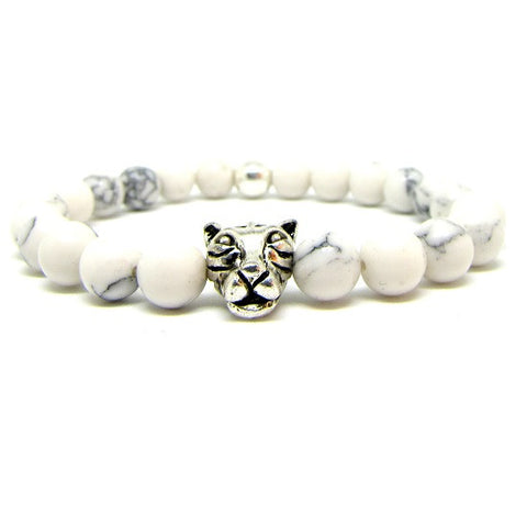 Prestige White Howlite | Silver Plated Tiger Head