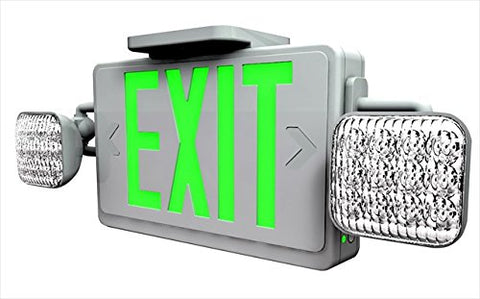 Red LED Exit Sign Emergency Light Combo with Battery Back-Up