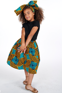 Tile African Print Skirts For Kids