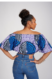 Jade African print Off Shoulder Top