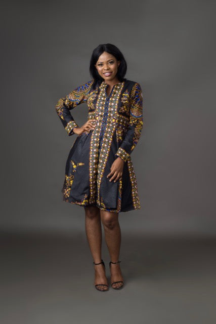 Lami African Print Jacket Dress (Black)