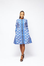 Temi African Print Jacket Dress (Blue)