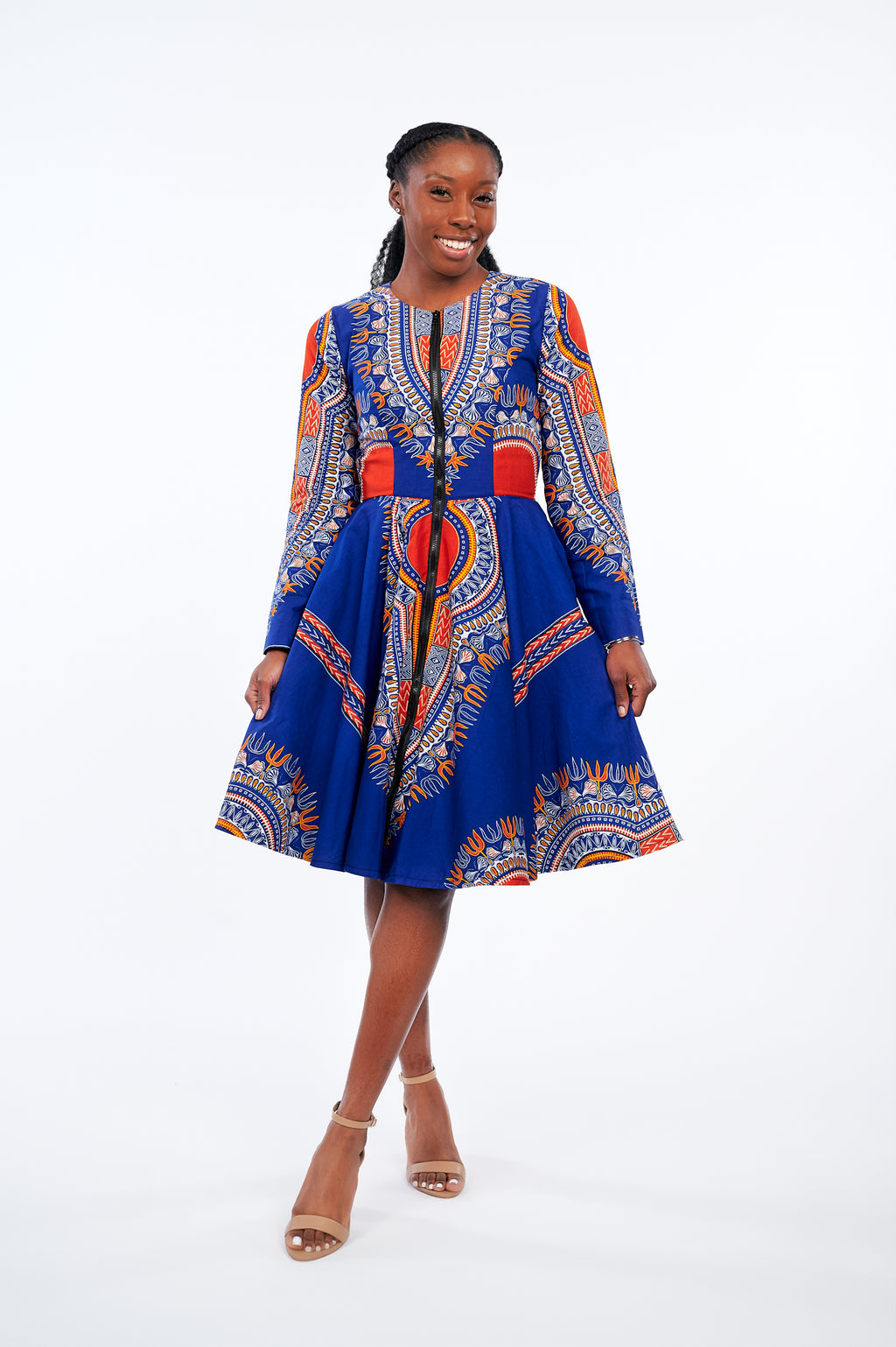 Olori African Print Jacket Dress (Blue)