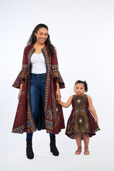 Oriki African Print Kids Dress (Wine)