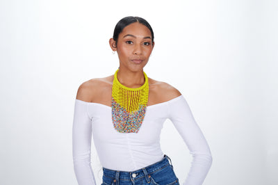Statement Beaded Necklace Yellow