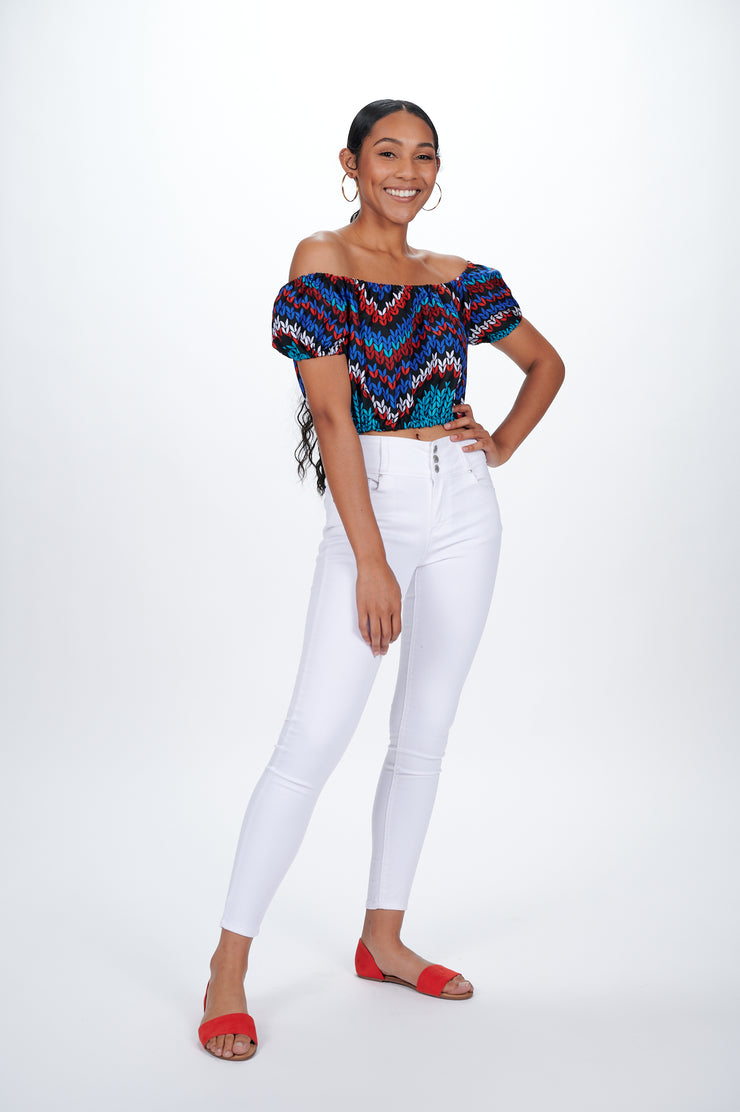 Motun African print Off Shoulder Cropped Top